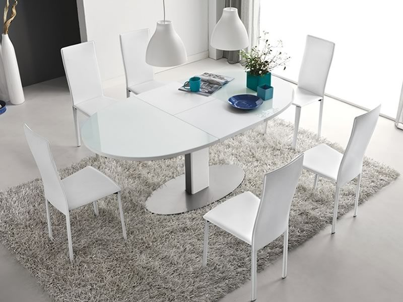 756 e tavolo in metallo con piano ovale in vetro - Tavolo vetro temperato opinioni ...