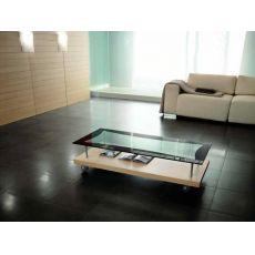 6732 | Tavolino Tonin Casa in legno, ripiano in vetro, con ruote