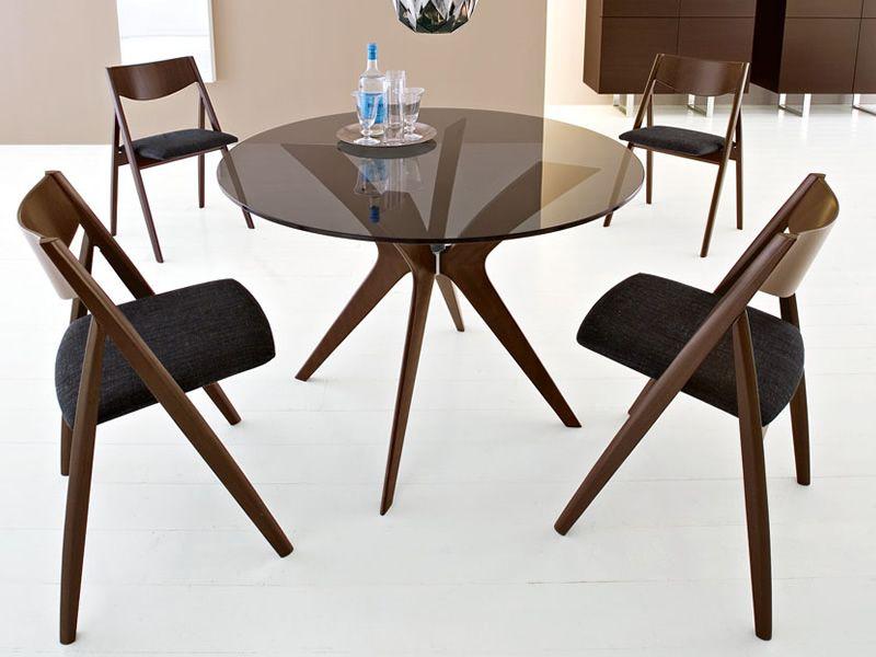 Cs18 rd tokyo tavolo calligaris in legno piano in vetro diametro 110 cm sediarreda - Tavolo calligaris in vetro ...