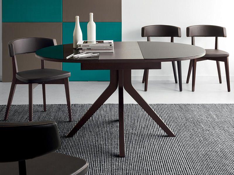 725 table en bois plateau ovale en verre 110x100 cm allongeable diff rentes couleurs. Black Bedroom Furniture Sets. Home Design Ideas