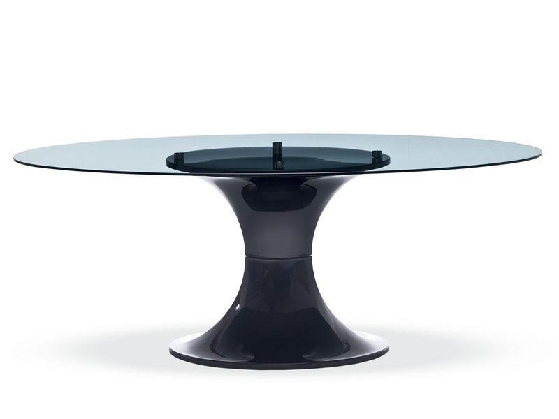 London tavolo midj ovale piano in vetro con o senza for Tavolo ovale allungabile vetro