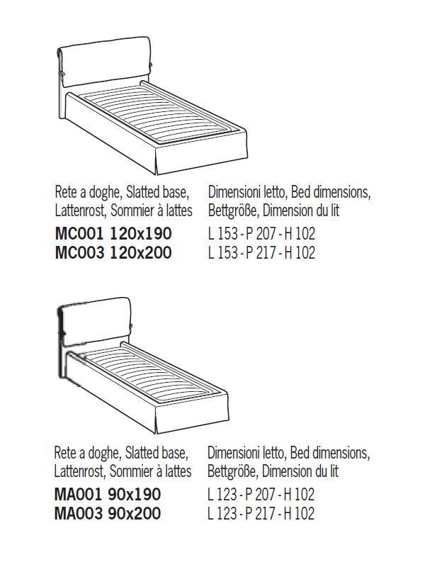 Misure standard letti com e cassettiere senza maniglie per cameretta modello ghost dimensioni - Misure standard letto singolo ...