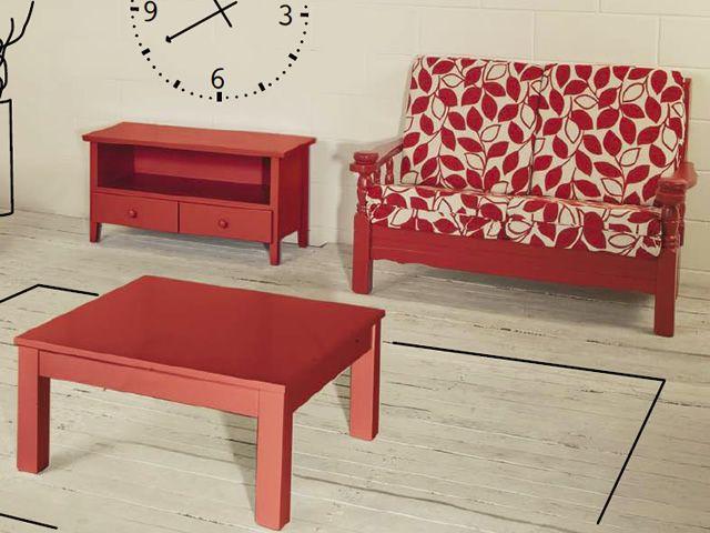 Tirolo divano canap rustique en bois avec coussins for Canape rustique