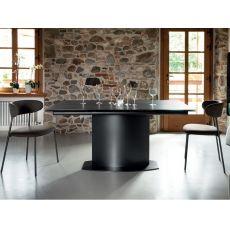 Discovery C | Tavolo Domitalia in metallo, piano vetro ceramica 98x160 cm, allungabile