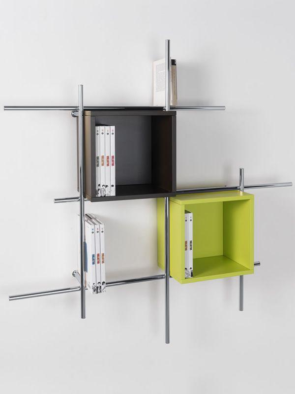 Libera b libreria da parete in metallo con contenitori in diversi colori sediarreda - Libreria verde ...