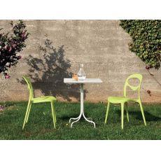 Crest   Tavolo Domitalia in metallo, tondo o quadrato, anche per giardino