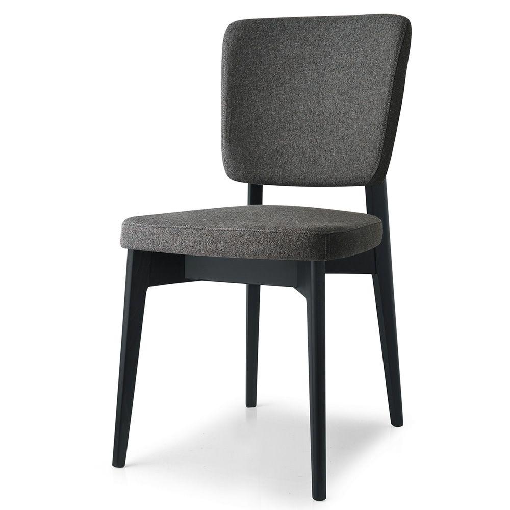 526 chaise en bois avec assise rembourr e rev tement en for Chaise tissu couleur