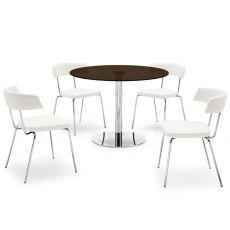 719 | Tavolo tondo in metallo con piano in vetro caffè