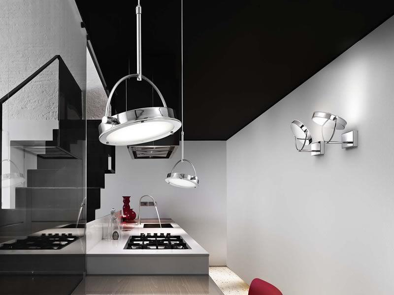 Fa3117dp lampada moderna da parete in metallo e vetro illuminazione led sediarreda - Illuminazione per cucina moderna ...