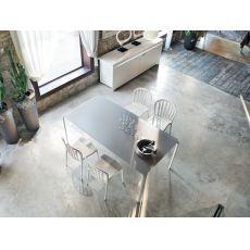 8065-B Light | Tavolo design Tonin Casa, in metallo, piano legno o vetro, 160x90 cm allungabile