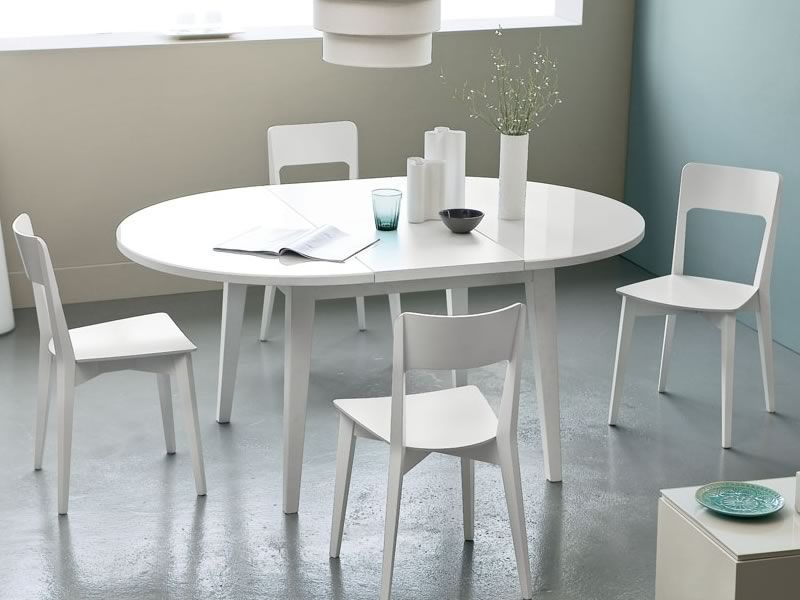 4717 table ronde rallonge plan en verre de diam tre - Table ronde blanc laque avec rallonge ...