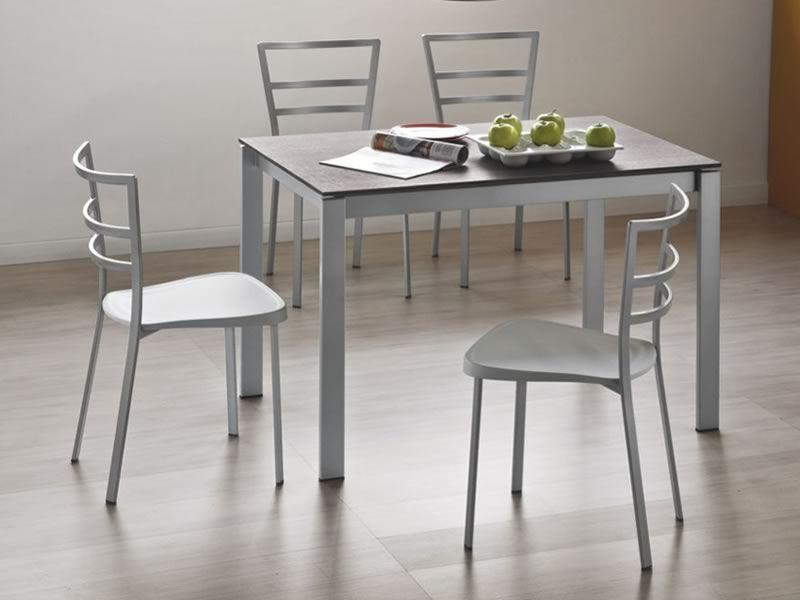 742 2 tavolo in metallo con piano in legno 70x110 cm for Sedie struttura acciaio satinato