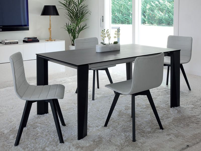 maxim 160 table domitalia en bois plateau en c ramique. Black Bedroom Furniture Sets. Home Design Ideas