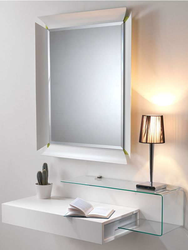 Due v mobile ingresso con vano portaoggetti specchio e mensola in vetro sediarreda - Mobile d ingresso ...