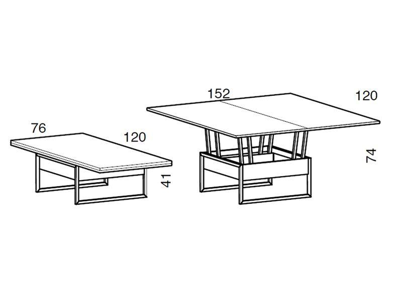 Didone r tavolino trasformabile in tavolo da pranzo 76 152x120 cm altezza 41 74 cm sediarreda - Altezza tavolo da pranzo ...