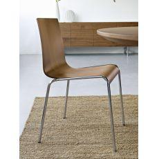 CS102 Online | Sedia Calligaris in metallo e legno noce, impilabile