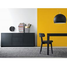 100 B | Sideboard in wood with glass top, in several colours, 180x51 cm