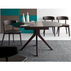 725 | Tavolo in legno con piano ovale in vetro 110x100 cm, allungabile, in diversi colori