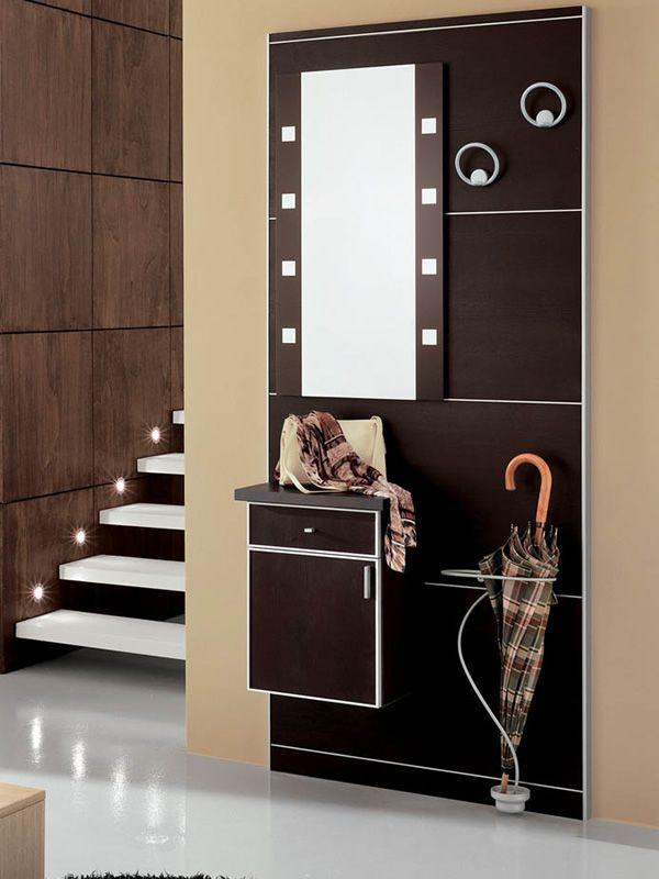 Pad353 mueble de entrada con espejo parag ero percheros - Mueble de entrada ...