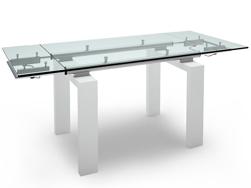 Tavolo allungabile, piano vetro 160x90 +60 cm