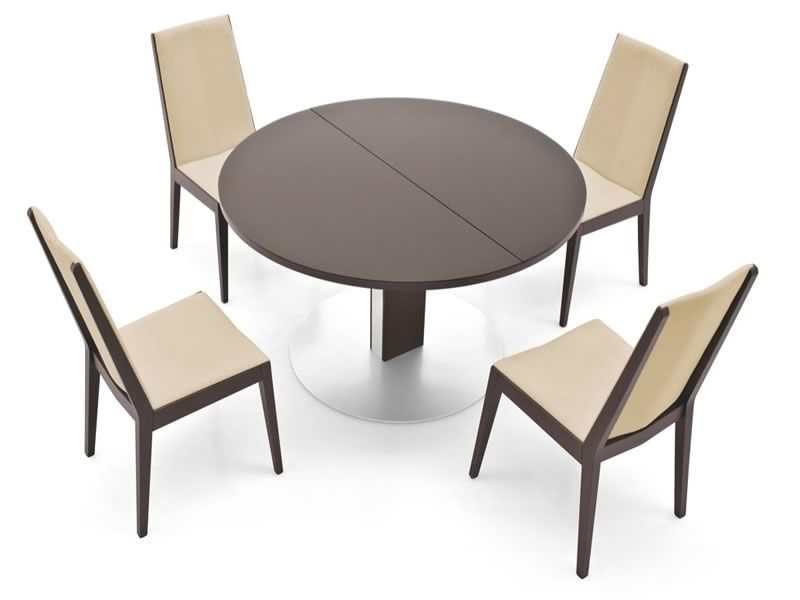 756 rd tavolo allungabile in metallo con piano tondo in for Tavolo tondo allungabile moderno