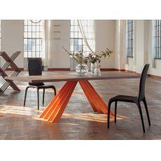 8011-L Ventaglio | Tavolo design Tonin Casa in metallo, 200x110 cm, piano legno, diversi colori