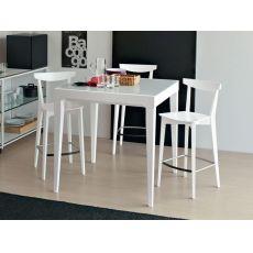 702 | 2H | Tavolo alto in legno con piano in vetro 90x90xh.91cm, allungabile