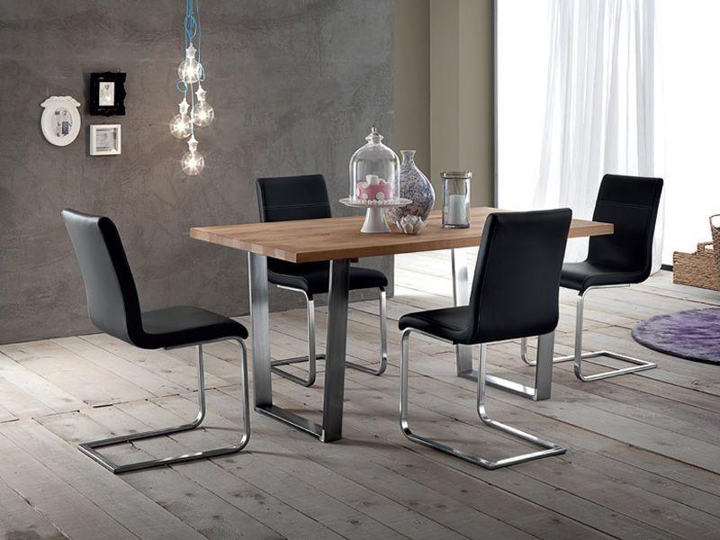 Cruise tavolo domitalia in metallo con piano legno for Tavolo legno metallo