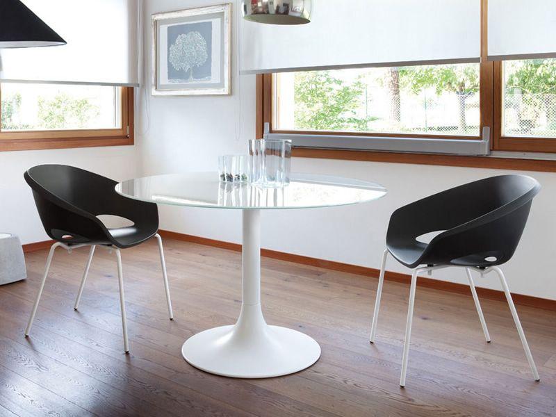 Corona 120: Tavolo tondo Domitalia, piano in vetro o MDF - Sediarreda