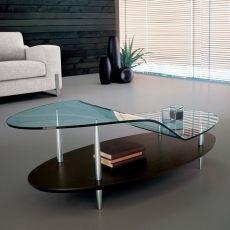 8112 | Tavolino Tonin Casa in legno e vetro, 130x65 cm