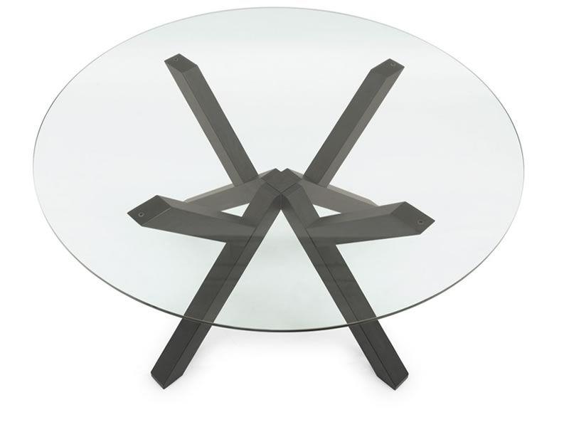 Tavolo in legno con piano tondo in vetro, diametro 120 o 140 cm