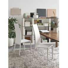 CS1066 Charme | Sedia Calligaris in metallo e cuoio color panna
