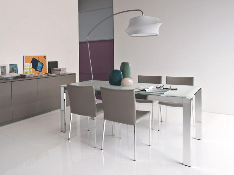 Cs4010 mv 110 baron tavolo calligaris in metallo piano for Tavolo vetro allungabile calligaris offerta