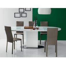 701 | Tavolo in metallo con piano ovale in vetro 140x100 cm, allungabile
