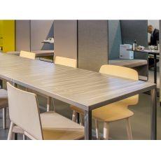 Fabbrico | Tavolo Pedrali di design in acciaio, fisso, disponibile in diverse dimensioni