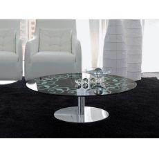6225 | Tavolino Tonin Casa in metallo con piano in vetro, diametro 100 cm