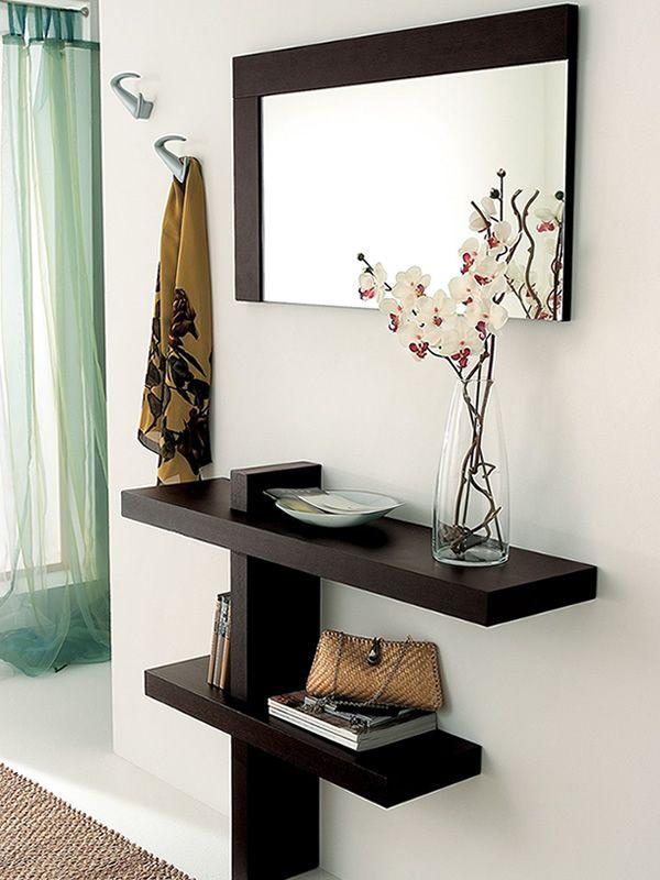 Mueble de entrado con espejo y percheros en varios for Mueble perchero entrada