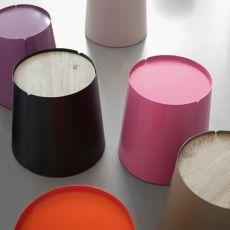 Bobino | Tavolino conico in metallo, con rotelle, piano in eco-abete o lamiera, diversi colori disponibili