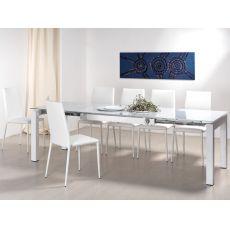 VR46 | Tavolo moderno in acciaio, piano in vetro, 130x90 cm, allungabile