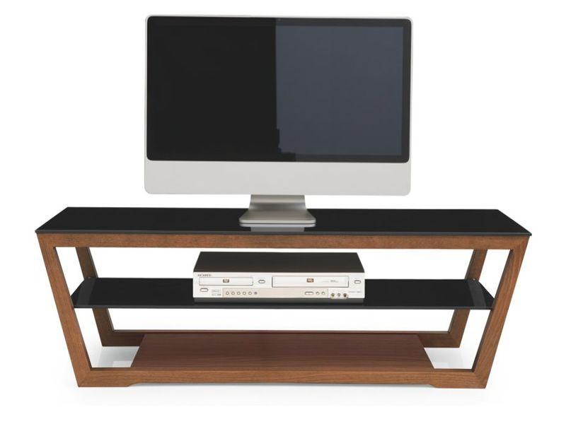 Porta TV moderno Calligaris, in legno con piano in vetro