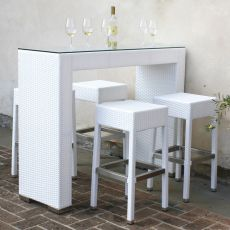 AR-BT | Set for outdoor: high table with stools, in aluminium and imitation rattan