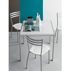 742 | 3 | Tavolo moderno in metallo con piano bianco, 80x80 cm, allungabile