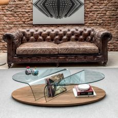 6212 Arona | Tavolino da salotto Tonin Casa, in legno e vetro, con portariviste
