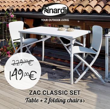 ZAC Classic set: table + 2 folding chairs >