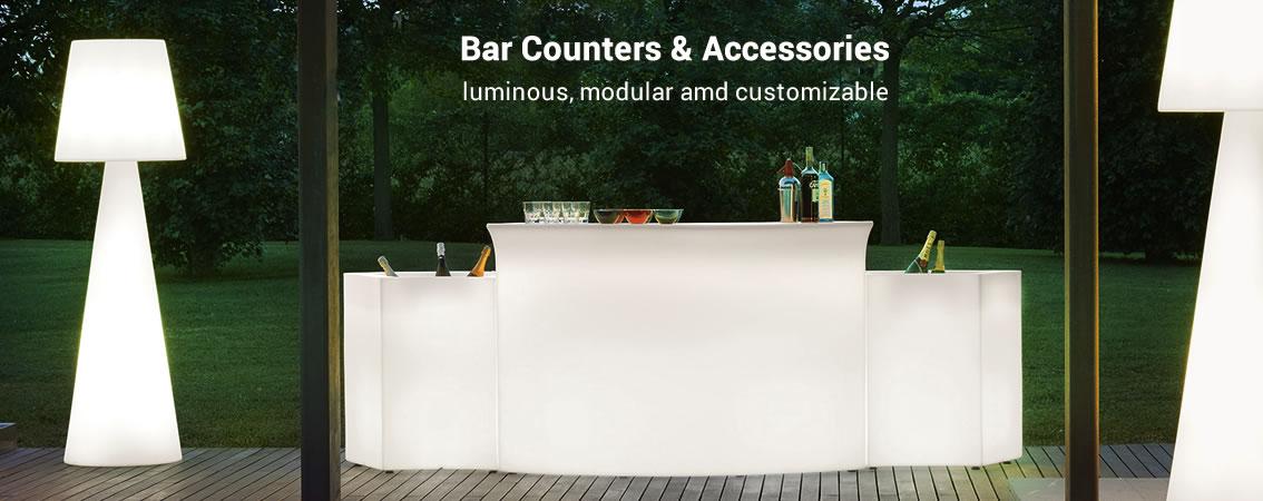 Bar Counters and Accessories luminous, modular amd customizable