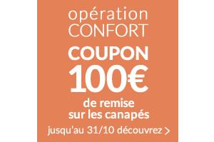 opération CONFORT COUPON 100€ code promo: SOFA17 Valide jusqu'au 31/10 pour un minimum d'achat de 500€