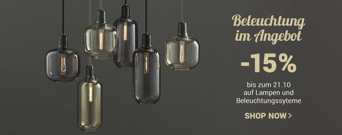 Beleuchtung im Angebot -15% mit dem Gutscheincode LIGHT15 gültig bis zum 14.10 auf Lampen und Beleuchtungssyteme