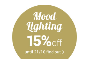 Mood Lighting 15%off with promo code LIGHT15 valid until 14/10 on lamps and chandeliers