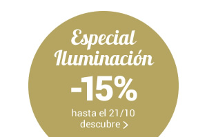 Especial Iluminación -15% con il código promo LIGHT15 válido hasta el 14/10 para lámparas y sistemas de luz