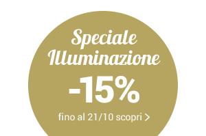 Speciale Illuminazione -15% con il codice promo LIGHT15 valido fino al 14/10 su lampade e sistemi luce